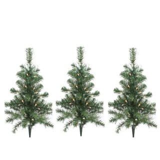 Pack of 3 Lighted Christmas Tree Driveway or Pathway Markers Outdoor Christmas Decorations