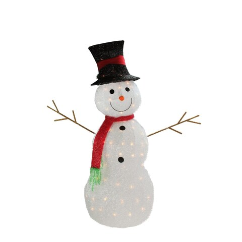 """48"""" Lighted 3-D Tinsel Snowman with Top Hat Christmas Yard Art Decoration"""