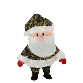 "32"" Pre-Lit Candy Cane Lane Camo Santa Claus Christmas Yard Art Decoration - Clear Lights"
