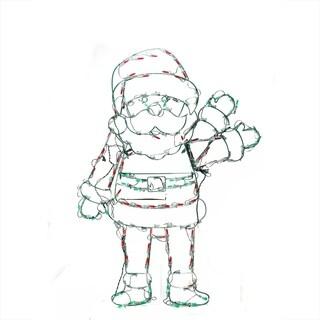 "42"" Pre-Lit Red White and Green LED Animotion Waving Santa Christmas Yard Art Decoration"