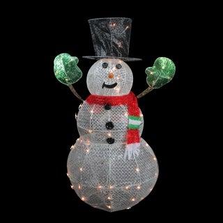 "48"" 3-D Lighted Glittering Mesh Winter Snowman Christmas Yard Art Decoration"