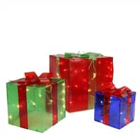 3-Piece Lighted Red  Green and Blue Gift Box Presents Christmas Yard Art Decoration Set