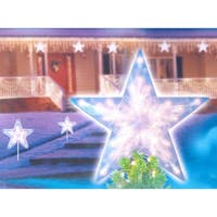 "14"" Clear Lighted Twinkling Christmas Star Tree Topper or Pathway Marker"