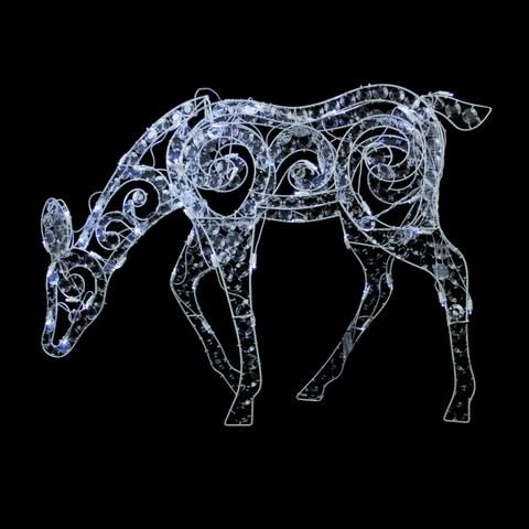"""36"""" Clear Acrylic Feeding Doe Reindeer LED Lighted Christmas Yard Art Decoration"""