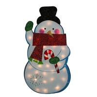 "30"" Standing Tinsel Snowman Lighted Christmas Yard Art Decoration - Clear Lights"