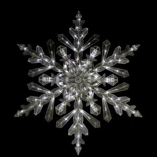 """48"""" Twinkling Cool White LED Lighted Translucent Snowflake Christmas Yard Art