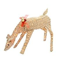"""39"""" Pre-Lit Brown and White Striped Chenille Reindeer Yard Art Decoration"""