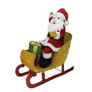 "29.5"" Lighted Tinsel Santa Claus in Sleigh Christmas Yard Art Decoration"