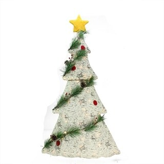"""42"""" Lighted 2-D Country Rustic Birch Christmas Tree Decoration - Clear Lights"""