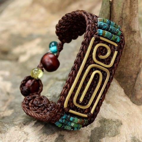 Handmade Brass 'Siam Fortress' Turquoise Bracelet (Thailand)