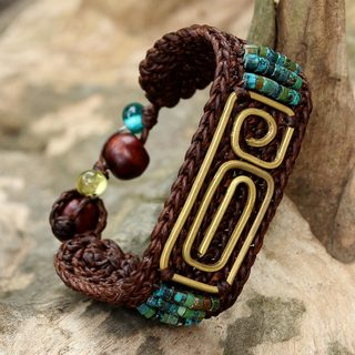 Handcrafted Brass 'Siam Fortress' Turquoise Bracelet (Thailand)