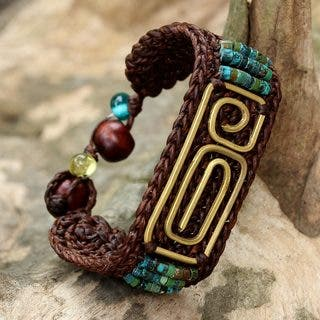 Handcrafted Brass 'Siam Fortress' Turquoise Bracelet (Thailand)|https://ak1.ostkcdn.com/images/products/17400546/P23638741.jpg?impolicy=medium