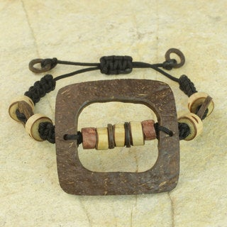 Handcrafted Coconut Shell Bamboo 'Bold Squares' Bracelet (Ghana)