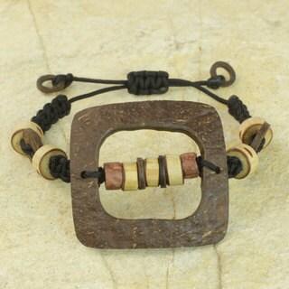 Handmade Coconut Shell Bamboo 'Bold Squares' Bracelet (Ghana)