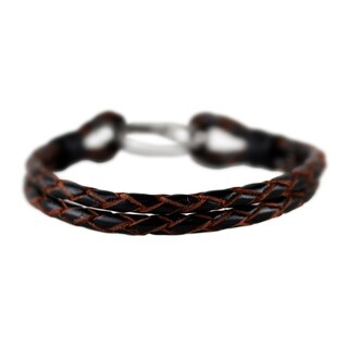 Handcrafted Leather 'Braided Couple in Brown' Bracelet (Thailand)