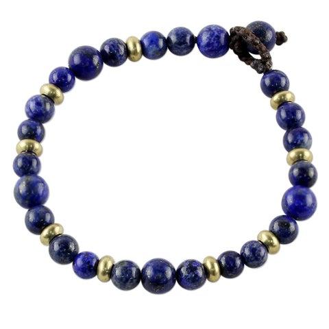 Handmade Brass 'Beautiful Thai in Blue' Lapis Lazuli Bracelet (Thailand)