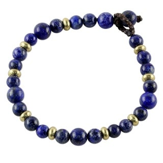 Handcrafted Brass 'Beautiful Thai in Blue' Lapis Lazuli Bracelet (Thailand)