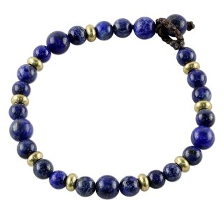 Handmade Brass 'Beautiful Thai in Blue' Lapis Lazuli Bracelet (Thailand)
