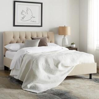 Maison Rouge Tatham Diamond Tufted Platform Bed in Velvet