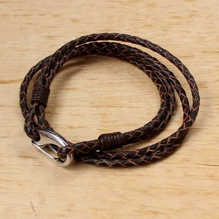 Handcrafted Leather 'Braided Friendship in Brown' Bracelet (Thailand)