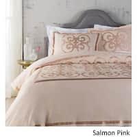 Abdiel Geometric Linen/Polyester King Size Duvet Set in Salmon (As Is Item)