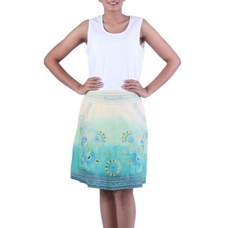 Handmade Cotton 'Seaside Garden' Skirt (India)