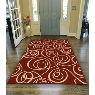 Virginia Ribbon Red Area Rug - 5'5 x 7'7