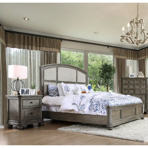 The Gray Barn Epona Rustic 2-piece Wire-Brushed Grey Bed and Nightstand Set
