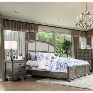 Furniture of America Fenemi Rustic 2-piece Wire-Brushed Grey Bed and Nightstand Set