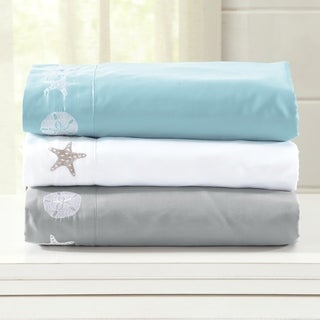 Home Fashion Designs Seascapes Collection Double Brushed Microfiber Coastal Embroidered Sheet Set