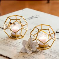 Danya B. Set of 2 Sparkling Gold Polyhedron Candle Holders with Glass