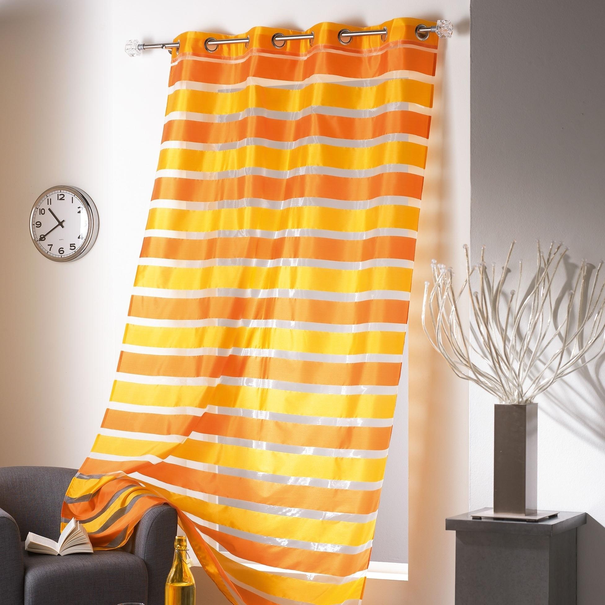 evideco striped sheer curtain panel colorado 55 x 95 55 x 95
