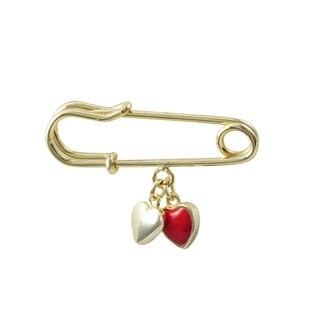 Luxiro Gold Finish Red Enamel Dangle Heart Safety Pin Brooch