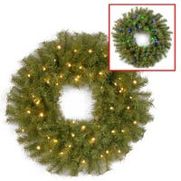 "30"" Norwood Fir Wreath with Battery Operated Dual Color® LED Lights"