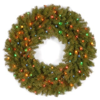 "30"" Norwood Fir Wreath with Battery Operated Multicolor LED Lights"