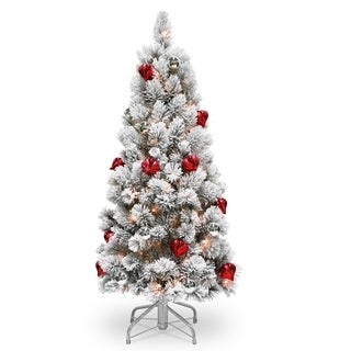 4.5 ft. Snowy Bristle Pine Tree with Clear Lights