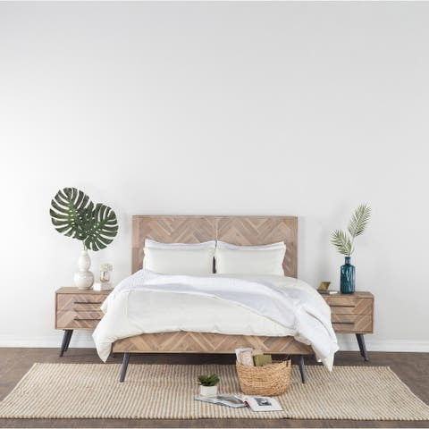 Clyde Biege/Brown Mid-Century Solid Acacia Wood Bed by Kosas Home