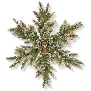 "30"" Glittery Bristle Pine Snowflake with Infinity(TM) Lights"