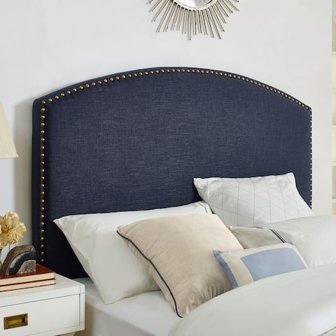 Crosley Furniture Cassie Navy Linen Curved Upholstered Full/Queen Headboard