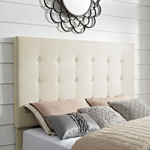 Crosley Furniture Reston Square Creme Linen Full/Queen Upholstered Headboard