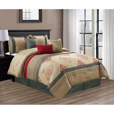 Elight Home Polyester Microfiber 7pc Comforter Set - Mocha