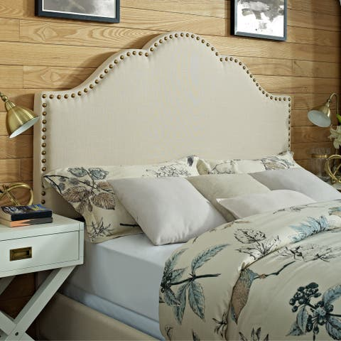 Cassie Creme Linen Upholstered Full/Queen Curved Headboard