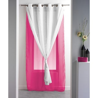 Evideco Double Layered Sheer Curtain Panel ROBIN Solid Two-colored - 55 x 95 (More options available)
