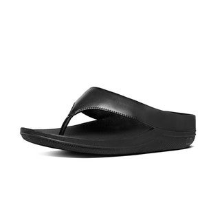 Women's FitFlop Ringer Thong Sandal All Black Leather