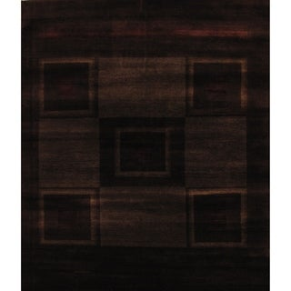 "Pasargad Gabbeh Collection Brown Lamb's Wool Area Rug- 6' 6"" X 8' 0"""