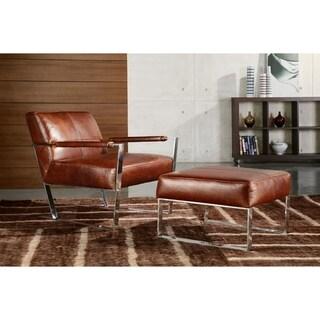 Uno Full Top Grain E Grade Leather Contemporary Ottoman
