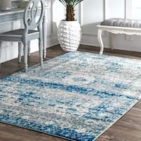 "Maison Rouge Bahram Vintage Distressed Medallion Light Blue Rug  - 6'7"" x 9'"