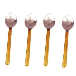 Inox Toffee Design 4-piece Gold Coffee/Dessert Spoon Set