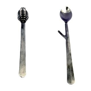 Inox Ridge Design 2-piece Nascent Steel Honey Drizzler/Jam Spoon Set