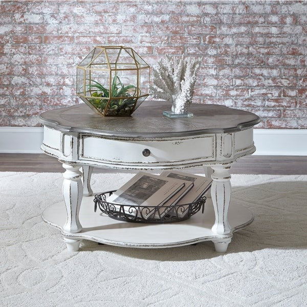 Round Red Coffee Table: Shop Magnolia Manor Antique White Castered Round Cocktail